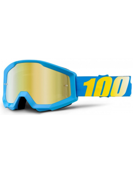 Мото очки 100% STRATA Goggle Cyan Blue - Mirror Gold Lens