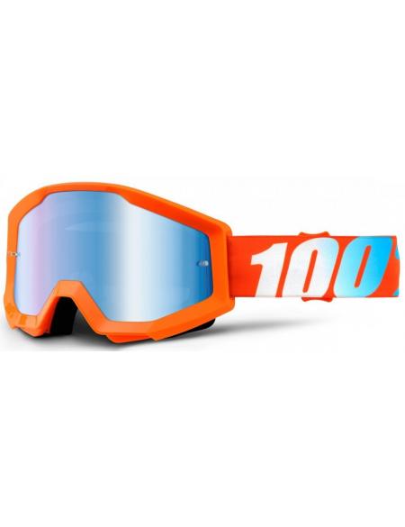 Мото очки 100% STRATA Goggle Orange - Mirror Blue Lens