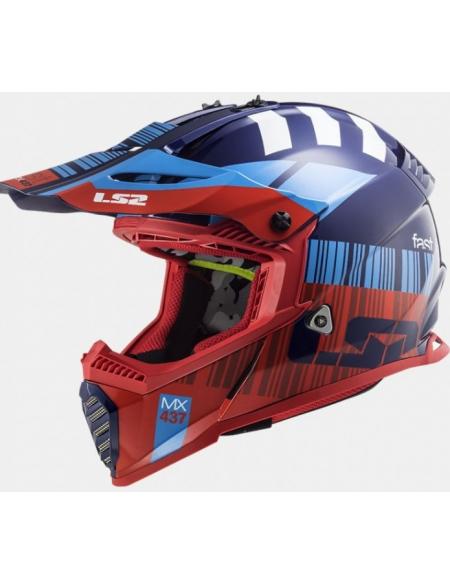 LS2 MX437 FAST EVO XCODE GLOSS RED BLUE